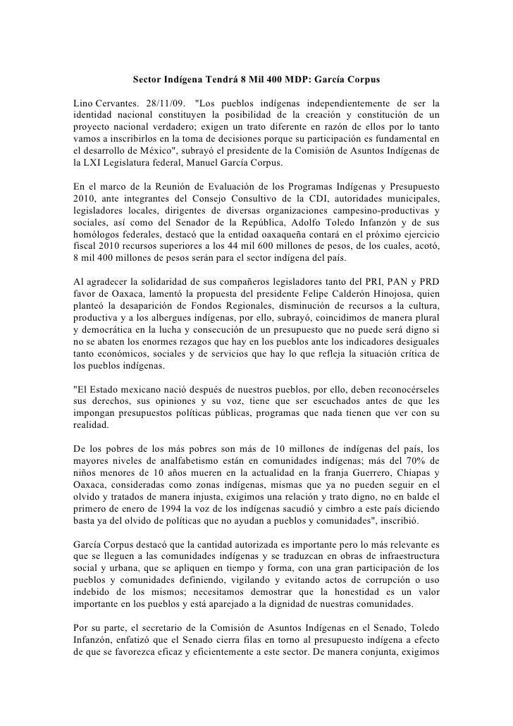 """Sector Indígena Tendrá 8 Mil 400 MDP: García Corpus  Lino Cervantes. 28/11/09. """"Los pueblos indígenas independientemente d..."""