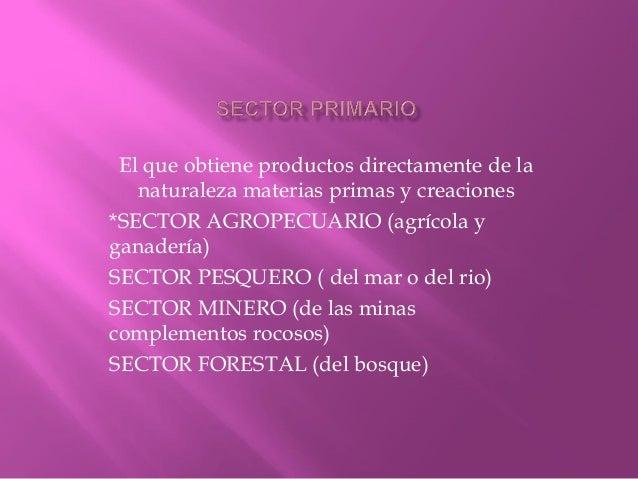 El que obtiene productos directamente de la naturaleza materias primas y creaciones *SECTOR AGROPECUARIO (agrícola y ganad...