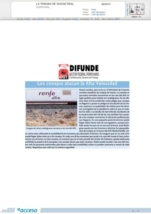 09/09/13LA TRIBUNA DE CIUDAD REAL CIUDAD REAL Prensa: Diaria Tirada: 4.021 Ejemplares Difusión: 3.254 Ejemplares Página: 2...