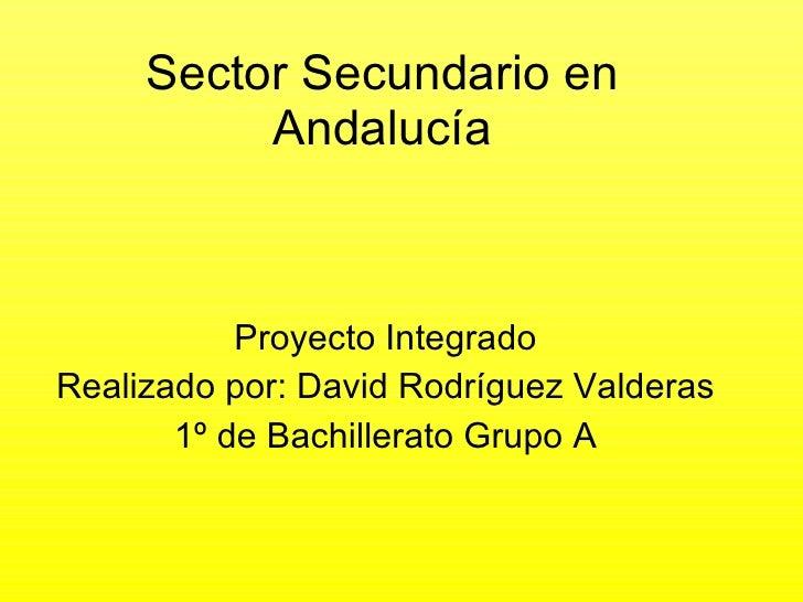 Sector Secundario en Andalucía Proyecto Integrado Realizado por: David Rodríguez Valderas 1º de Bachillerato Grupo A