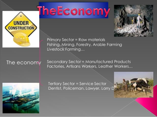 The economy Primary Sector = Raw materials Fishing, Mining, Forestry, Arable Farming Livestock Farming… Secondary Sector =...