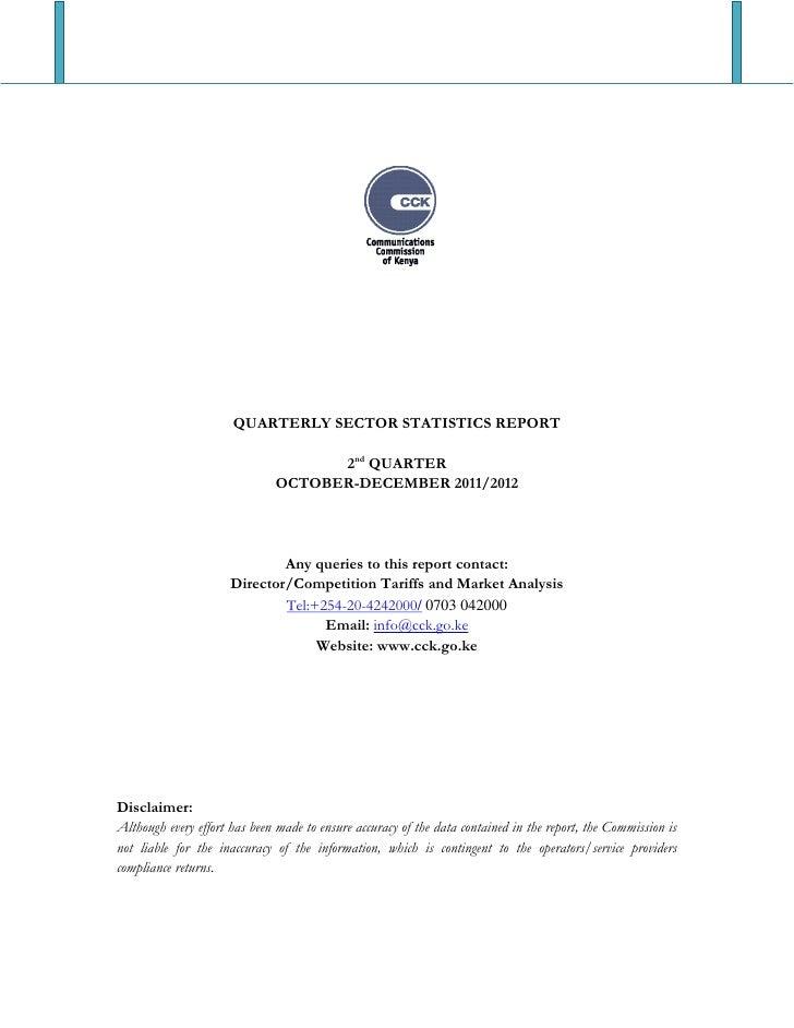 QUARTERLY SECTOR STATISTICS REPORT                                    2nd QUARTER                              OCTOBER-DEC...