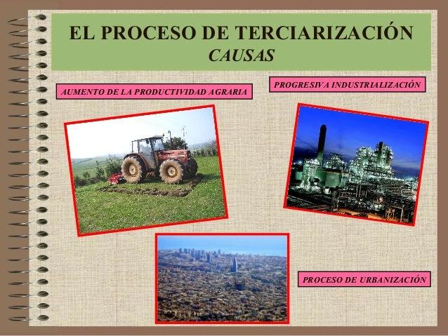 CAUSAS DE LA TERCIARIZACIÓN AUMENTO DE LA PRODUCTIVIDAD AGRARIA EL PROCESO DE TERCIARIZACIÓN CAUSAS PROGRESIVA INDUSTRIALI...