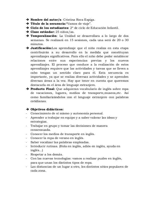 """ Nombre del autor/a: Cristina Roca Espiga. Título de la secuencia:""""Vamos de viaje"""". Ciclo de los estudiantes: 2º de cic..."""