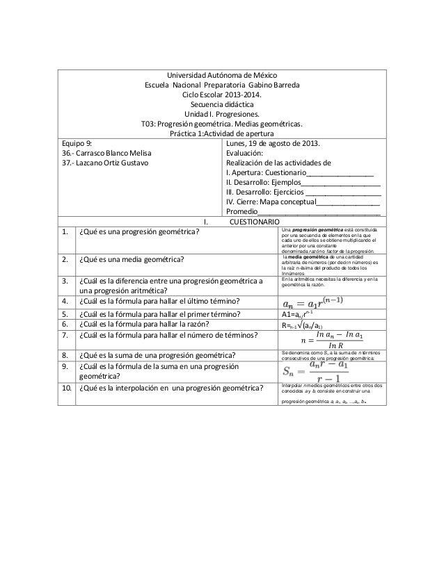 Universidad Autónoma de México Escuela Nacional Preparatoria Gabino Barreda Ciclo Escolar 2013-2014. Secuencia didáctica U...