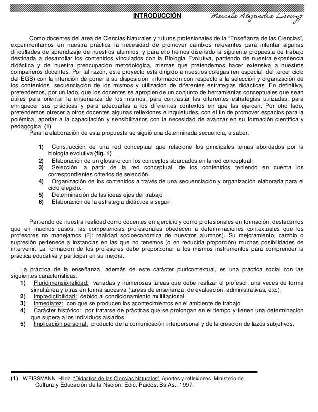 """INTRODUCCIÓN Como docentes del área de Ciencias Naturales y futuros profesionales de la """"Enseñanza de las Ciencias"""", exper..."""