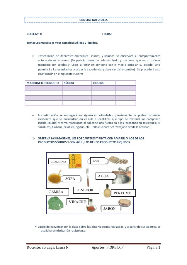 CIENCIAS NATURALES  CLASE Nº 1:  FECHA:  Tema: Los materiales y sus cambios: Sólidos y líquidos.    Presentación de difer...