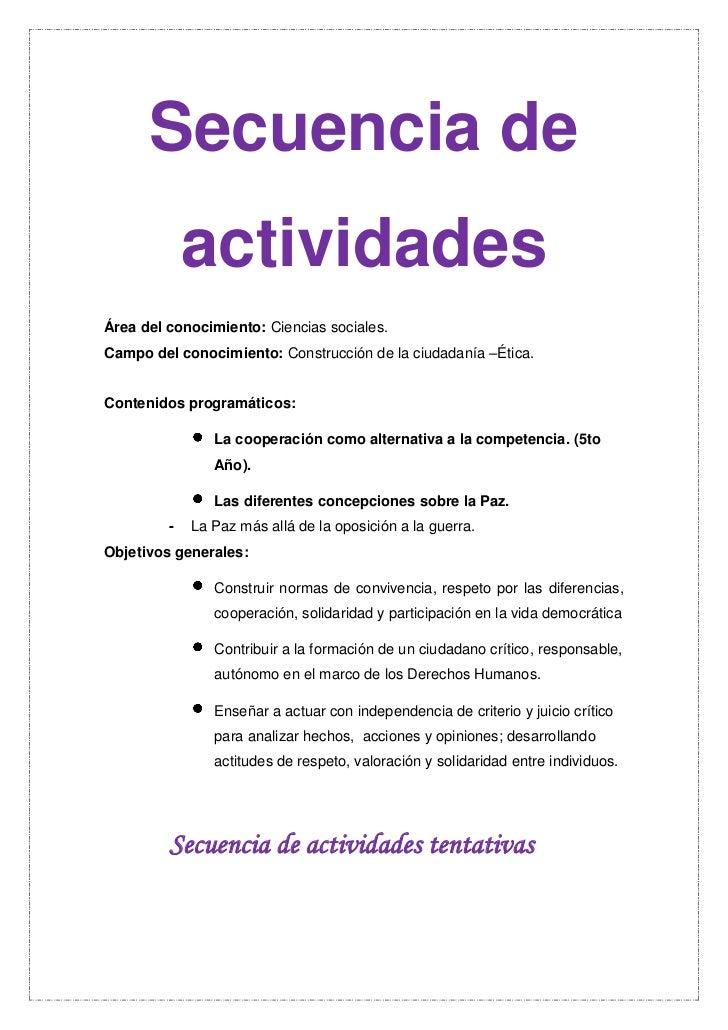 Secuencia De Actividades Convivencia Imprimir