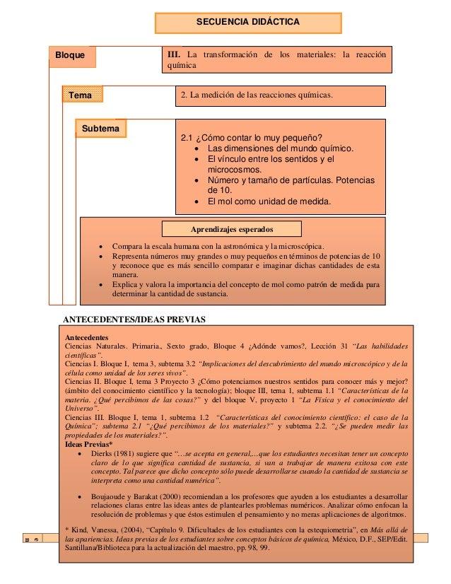 SECUENCIA DIDÁCTICA    Bloque                           III. La transformación de los materiales: la reacción             ...