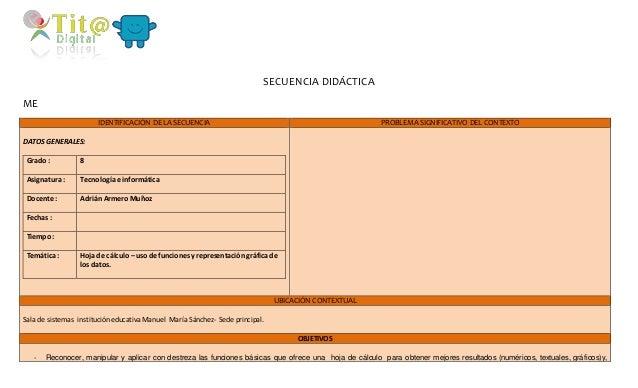 SECUENCIA DIDÁCTICA  ME  IDENTIFICACIÓN DE LA SECUENCIA PROBLEMA SIGNIFICATIVO DEL CONTEXTO  DATOS GENERALES:  Grado : 8  ...