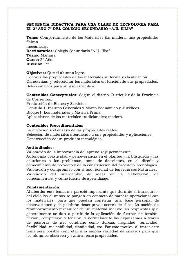 """SECUENCIA DIDACTICA PARA UNA CLASE DE TECNOLOGIA PARAEL 2º AÑO 7º DEL COLEGIO SECUNDARIO """"A.U. ILLIA""""Tema: Comportamiento ..."""