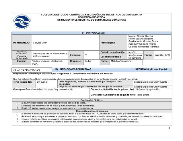 COLEGIO DE ESTUDIOS CIENTÍFICOS Y TECNOLÓGICOS DEL ESTADO DE GUANAJUATO SECUENCIA DIDÁCTICA INSTRUMENTO DE REGISTRO DE EST...