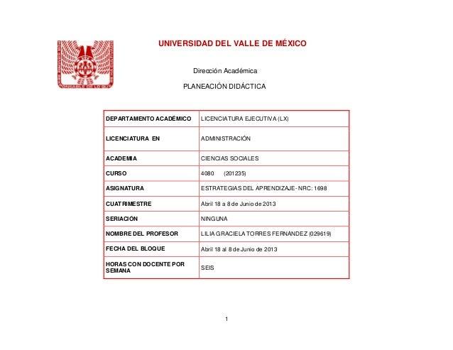 UNIVERSIDAD DEL VALLE DE MÉXICO                         Dirección Académica                      PLANEACIÓN DIDÁCTICADEPAR...