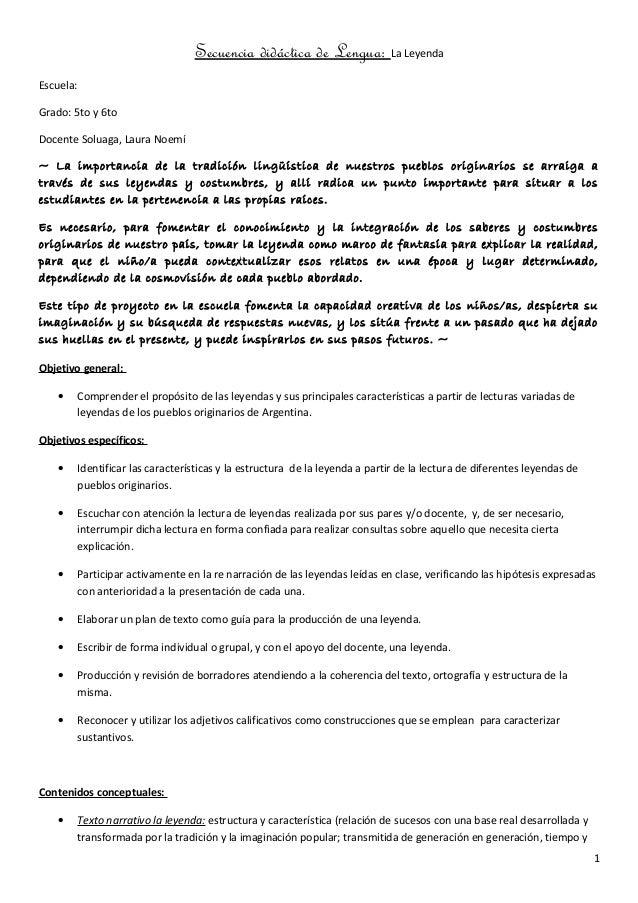 Secuencia didáctica de Lengua: La Leyenda Escuela: Grado: 5to y 6to Docente Soluaga, Laura Noemí ~ La importancia de la tr...