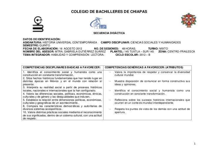 COLEGIO DE BACHILLERES DE CHIAPAS                                                           SECUENCIA DIDÁCTICADATOS DE ID...