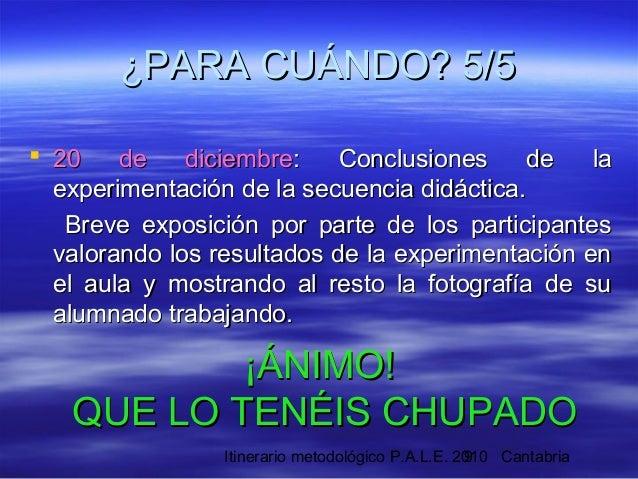 Itinerario metodológico P.A.L.E. 2010 Cantabria9  20 de diciembre20 de diciembre: Conclusiones de la: Conclusiones de la ...