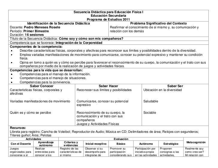 Secuencia Didáctica para Educación Física I                                                         Educación Secundaria  ...