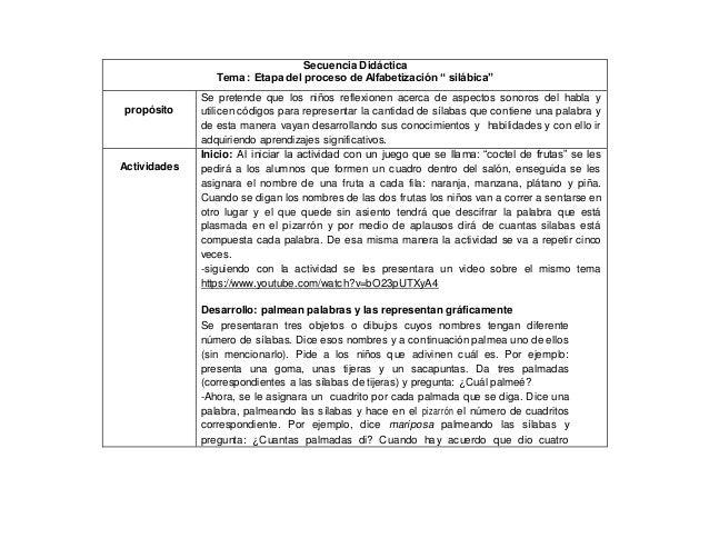 """Secuencia Didáctica Tema : Etapa del proceso de Alfabetización """" silábica"""" propósito Se pretende que los niños reflexionen..."""