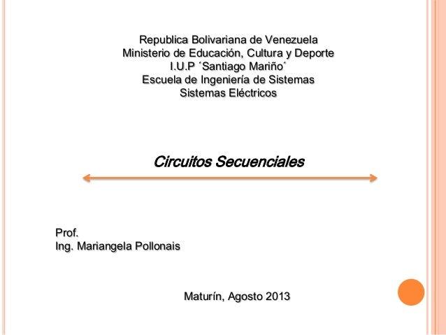 Republica Bolivariana de Venezuela Ministerio de Educación, Cultura y Deporte I.U.P ´Santiago Mariño´ Escuela de Ingenierí...