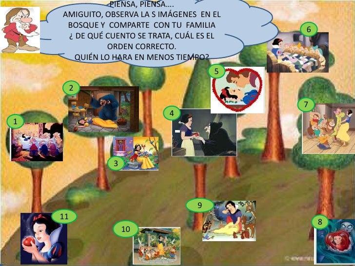 PIENSA, PIENSA….<br />AMIGUITO, OBSERVA LA S IMÁGENES  EN EL BOSQUE Y  COMPARTE  CON TU  FAMILIA        ¿ DE QUÉ CUENTO SE...