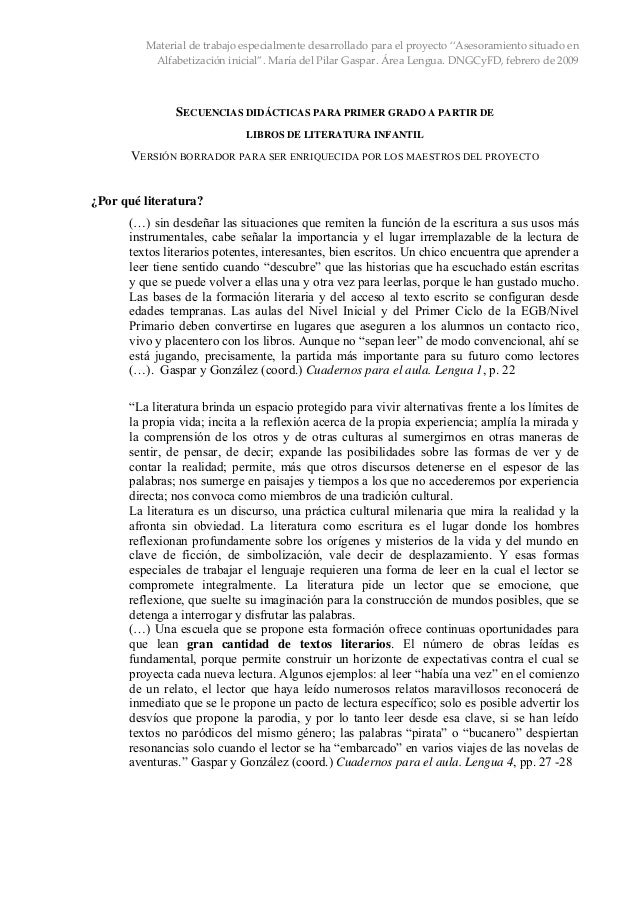 """Material de trabajo especialmente desarrollado para el proyecto """"Asesoramiento situado en  Alfabetización inicial"""". María ..."""
