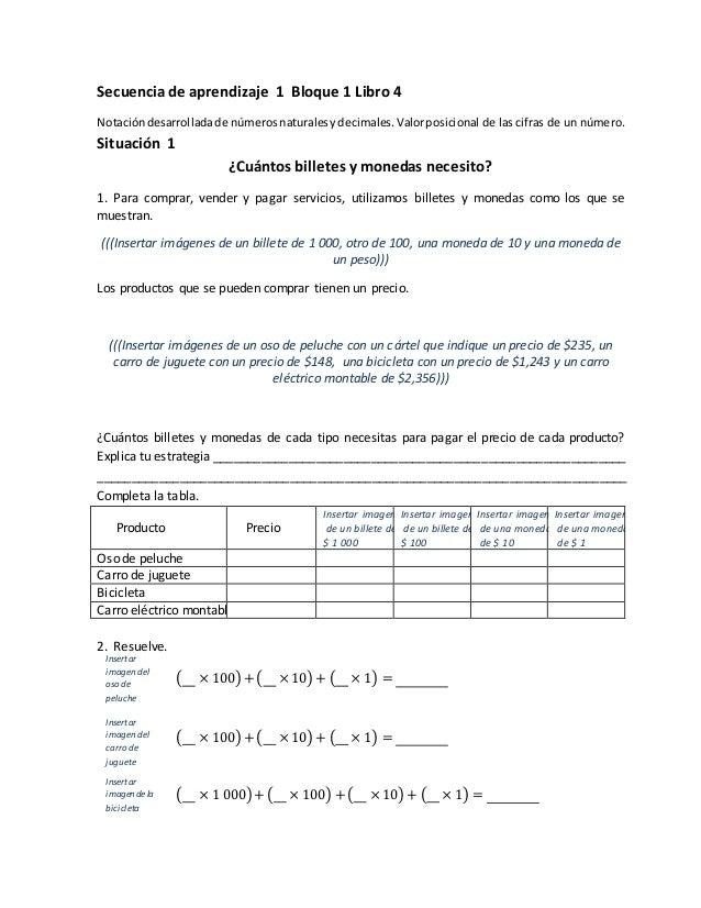 Secuencia de aprendizaje 1 Bloque 1 Libro 4 Notacióndesarrolladade númerosnaturalesydecimales. Valorposicional de las cifr...