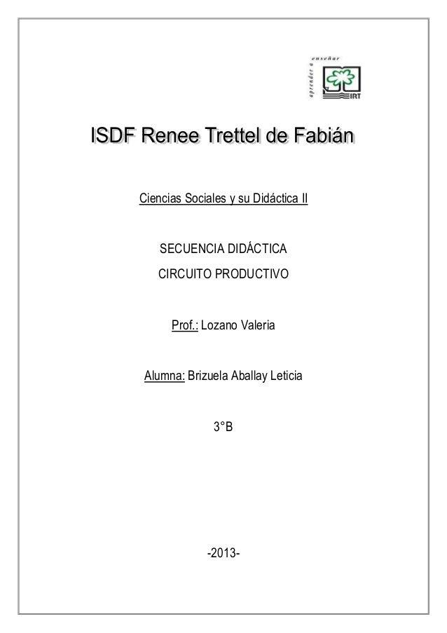 Ciencias Sociales y su Didáctica II  SECUENCIA DIDÁCTICA CIRCUITO PRODUCTIVO  Prof.: Lozano Valeria  Alumna: Brizuela Abal...