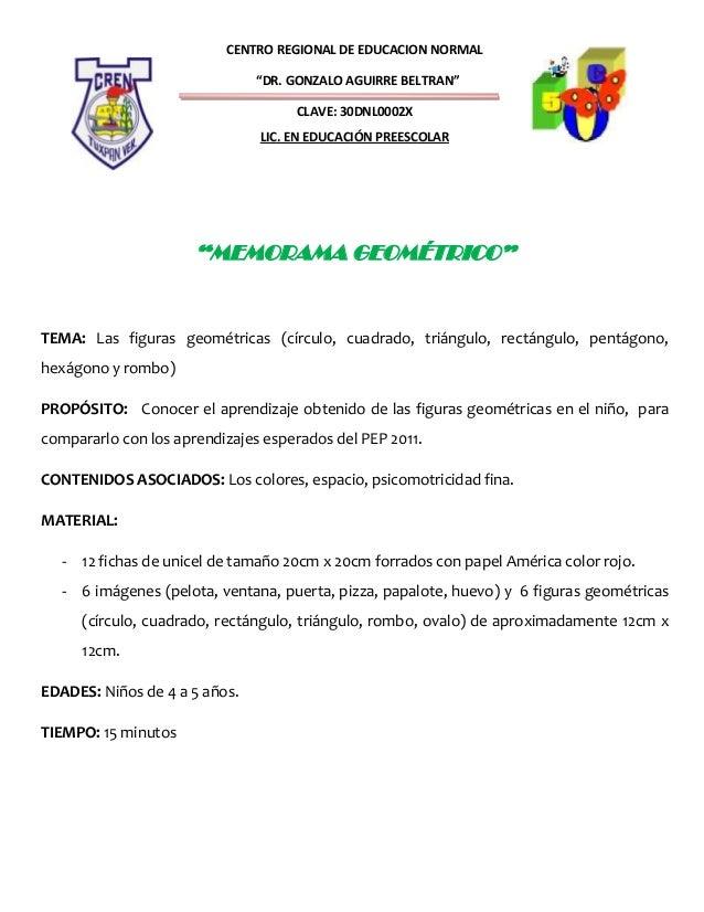 """CENTRO REGIONAL DE EDUCACION NORMAL""""DR. GONZALO AGUIRRE BELTRAN""""CLAVE: 30DNL0002XLIC. EN EDUCACIÓN PREESCOLAR""""MEMORAMA GEO..."""