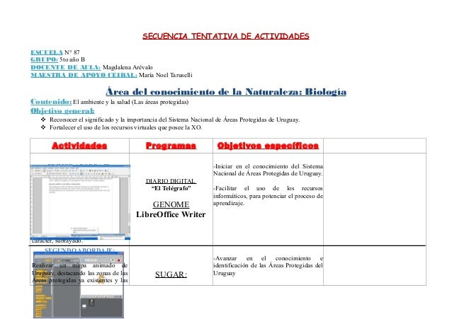 SECUENCIA TENTATIVA DE ACTIVIDADES ESCUELA N° 87 GRUPO: 5to año B DOCENTE DE AULA: Magdalena Arévalo MAESTRA DE APOYO CEIB...