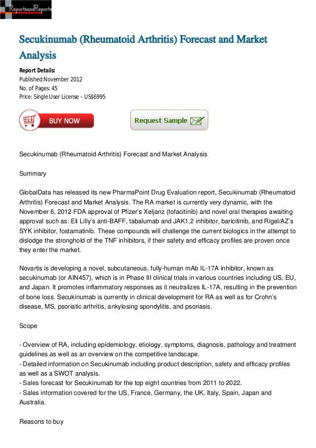 Secukinumab (Rheumatoid Arthritis) Forecast and MarketAnalysisReport Details:Published:November 2012No. of Pages: 45Price:...