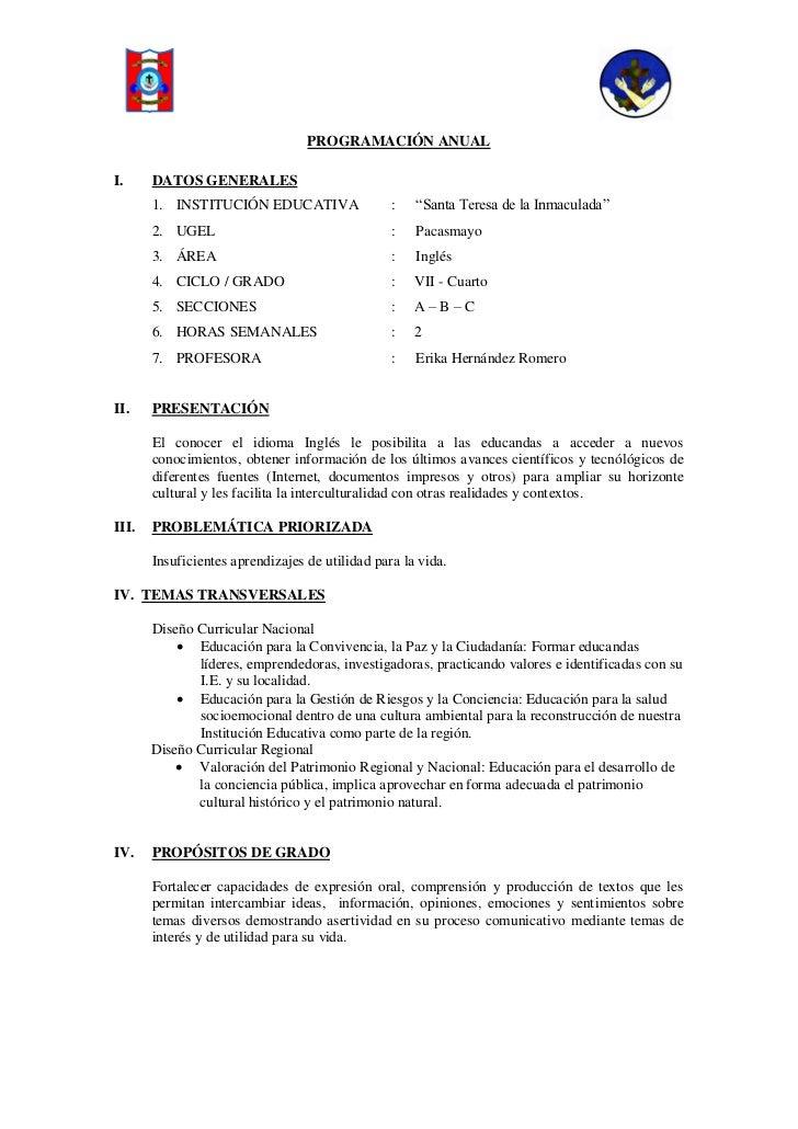 """PROGRAMACIÓN ANUALI.     DATOS GENERALES       1. INSTITUCIÓN EDUCATIVA                  :   """"Santa Teresa de la Inmaculad..."""