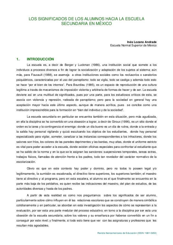 LOS SIGNIFICADOS DE LOS ALUMNOS HACIA LA ESCUELA                       SECUNDARIA EN MÉXICO                               ...