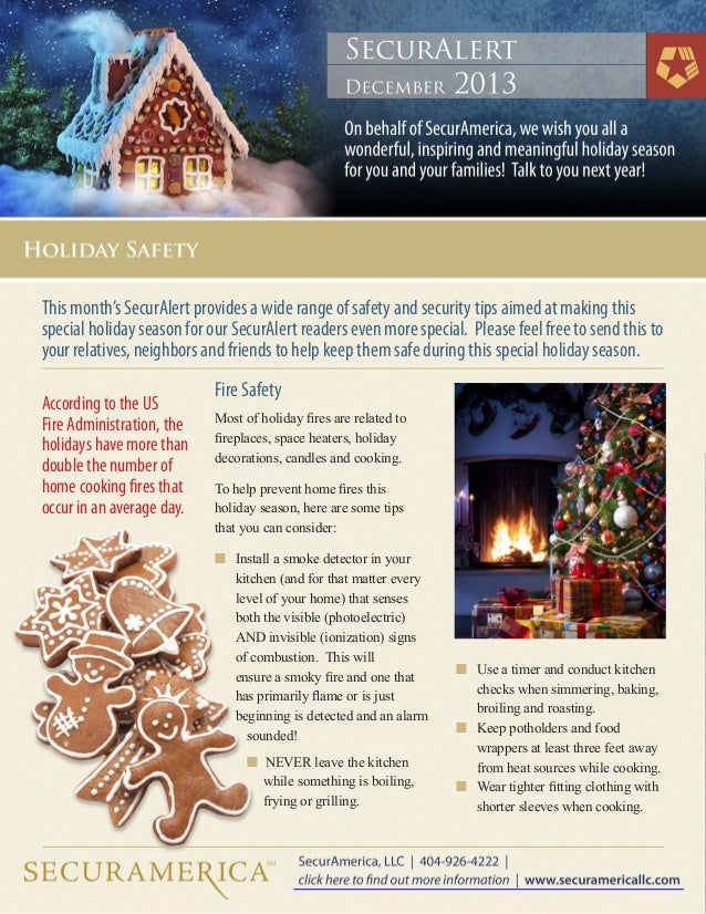 This month's SecurAlert provides a wide range of safety and security tips aimed at making this special holiday season for ...