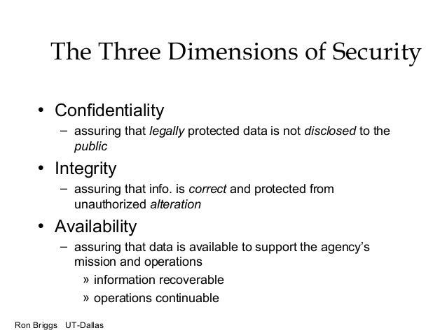 Ron Briggs UT-Dallas The Three Dimensions of Security • Confidentiality – assuring that legally protected data is not disc...