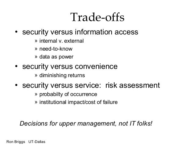 Ron Briggs UT-Dallas Trade-offs • security versus information access » internal v. external » need-to-know » data as power...