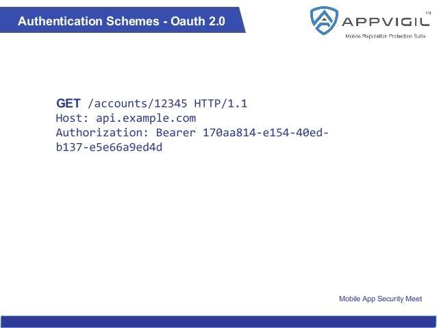 Mobile App Security Meet Authentication Schemes - Oauth 2.0 GET