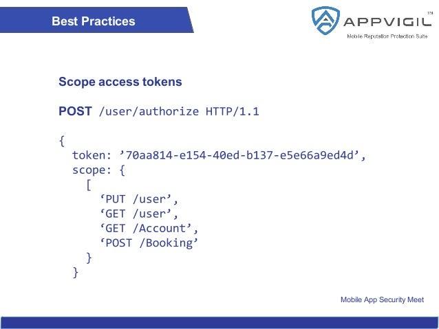 Mobile App Security Meet Best Practices Scope access tokens POST