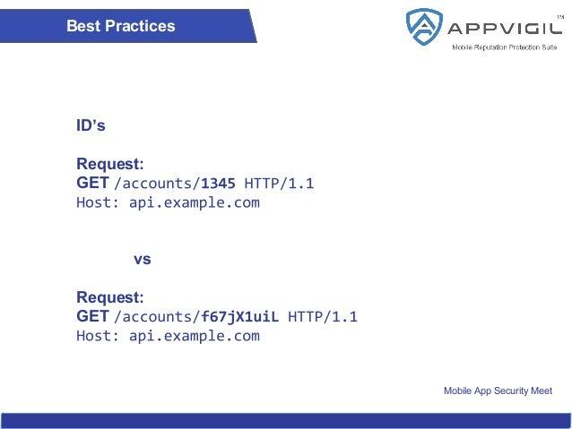 Mobile App Security Meet Best Practices ID's Request: GET vs Request: GET