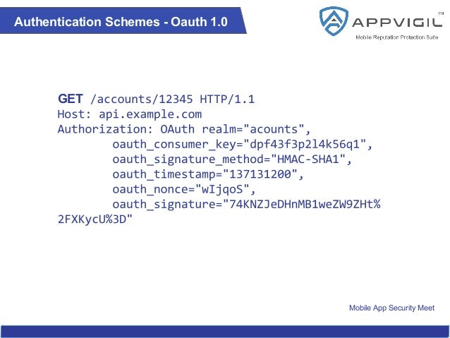 Mobile App Security Meet Authentication Schemes - Oauth 1.0 GET