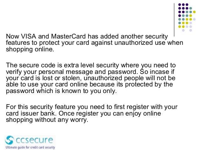 Visa & MasterCard Secure code registration & usage
