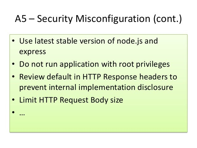 Secure Coding for NodeJS