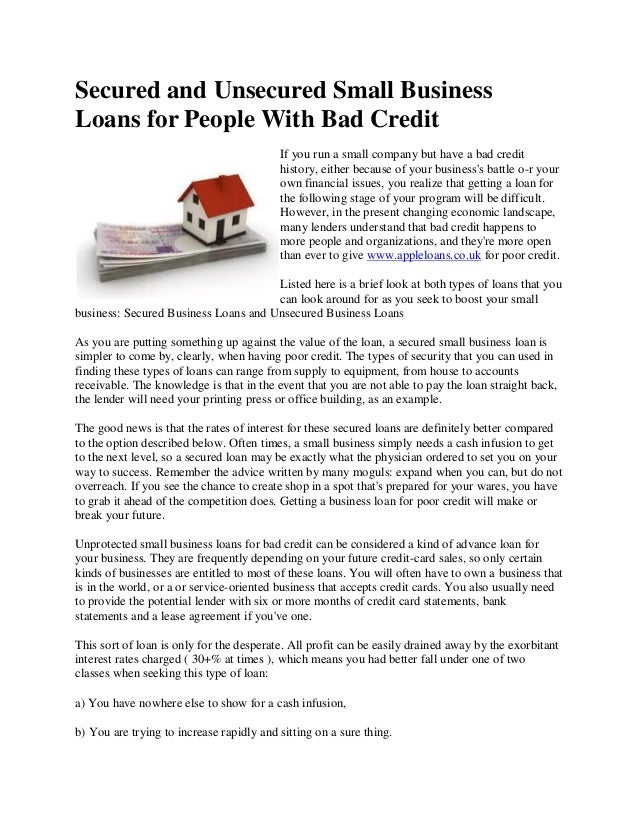 how to get a secured loan with bad credit