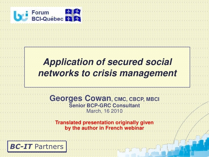 Using secured social networks for crisis management