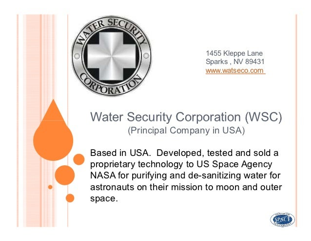 1455 Kleppe Lane                           Sparks , NV 89431                           www.watseco.comWater Security Corpo...
