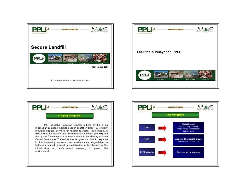 Secure Landfill                                                                      Fasilitas & Pelayanan PPLi           ...