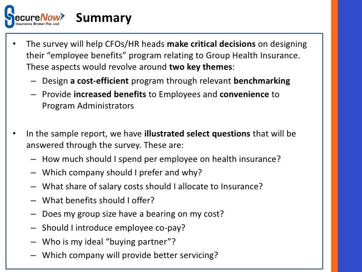 SecureNow Employee Benefit (Group Health) Survey Sample Report