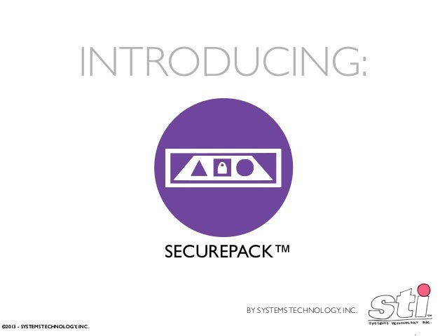 INTRODUCING:  SECUREPACK™ BY SYSTEMS TECHNOLOGY, INC. ©2013 - SYSTEMS TECHNOLOGY, INC.