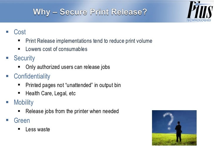 Technical Aspects of Secure Print Release Slide 2