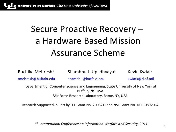 Secure Proactive Recovery –  a Hardware Based Mission Assurance Scheme 6 th  International Conference on Information Warfa...