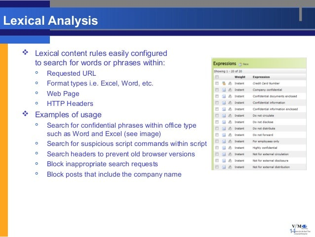 Lexical Analysis    Lexical content rules easily configured     to search for words or phrases within:         Requested...
